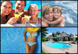 Families enjoying pool with lower chlorine